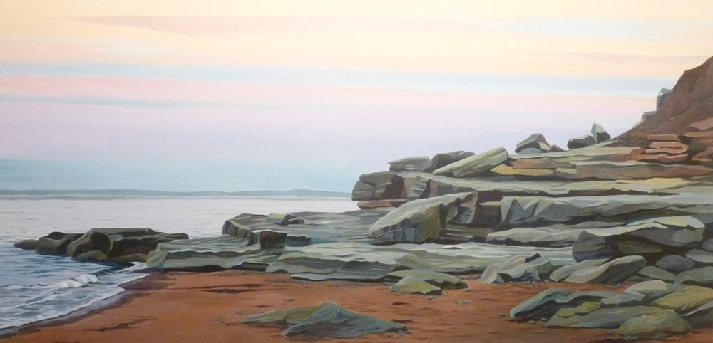 "The weight of Rocks, The Lightness of Air, Acrylic on Canvas, 24"" x 48"""