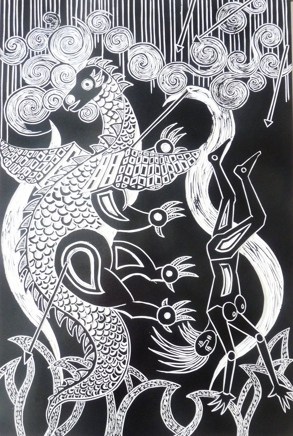 "I fall with the dragon, linocut print 22"" x 33"""