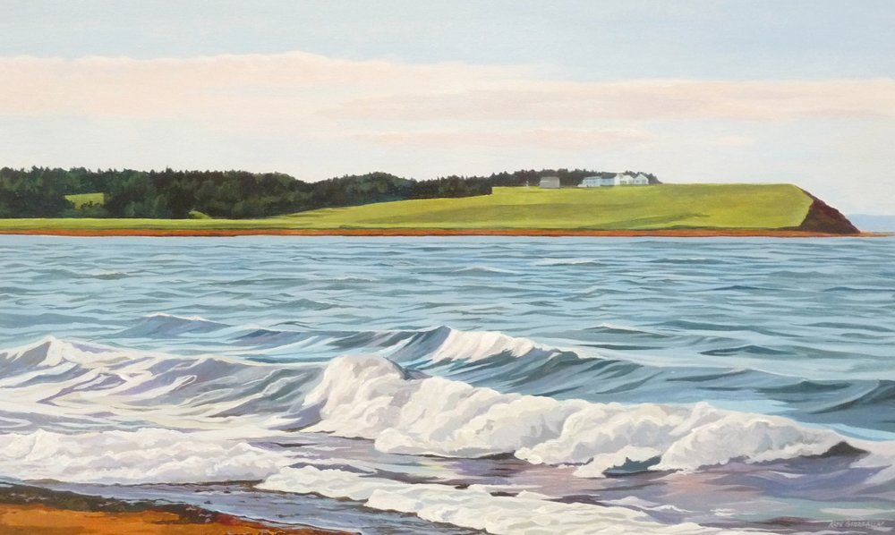 "Shoreline, Pomquet Beach, acrylic 20 x 36"""