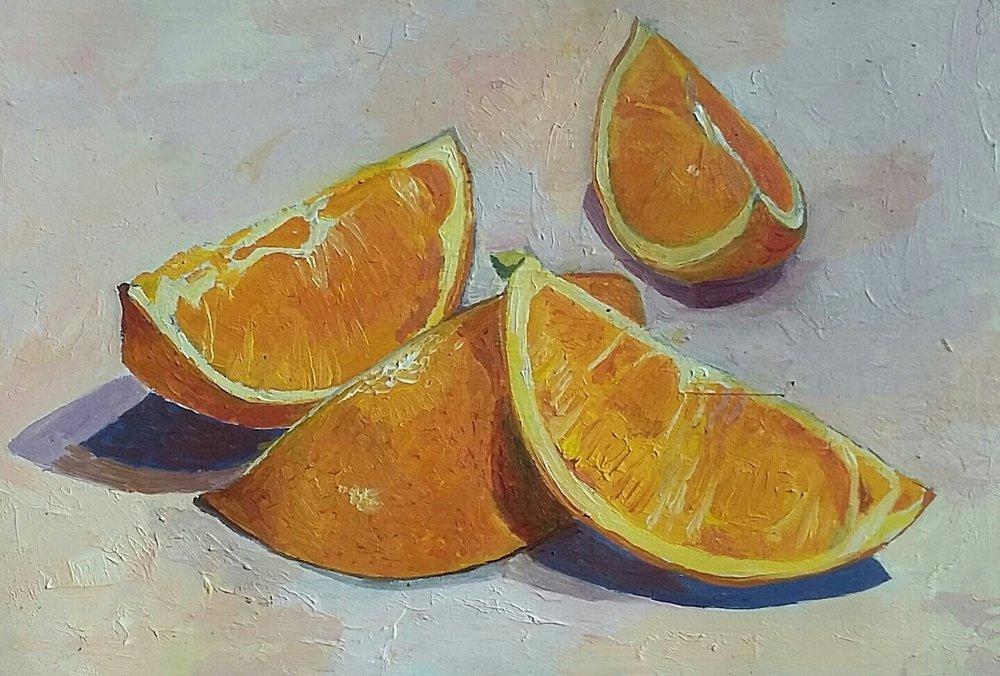 oranges, oil on board