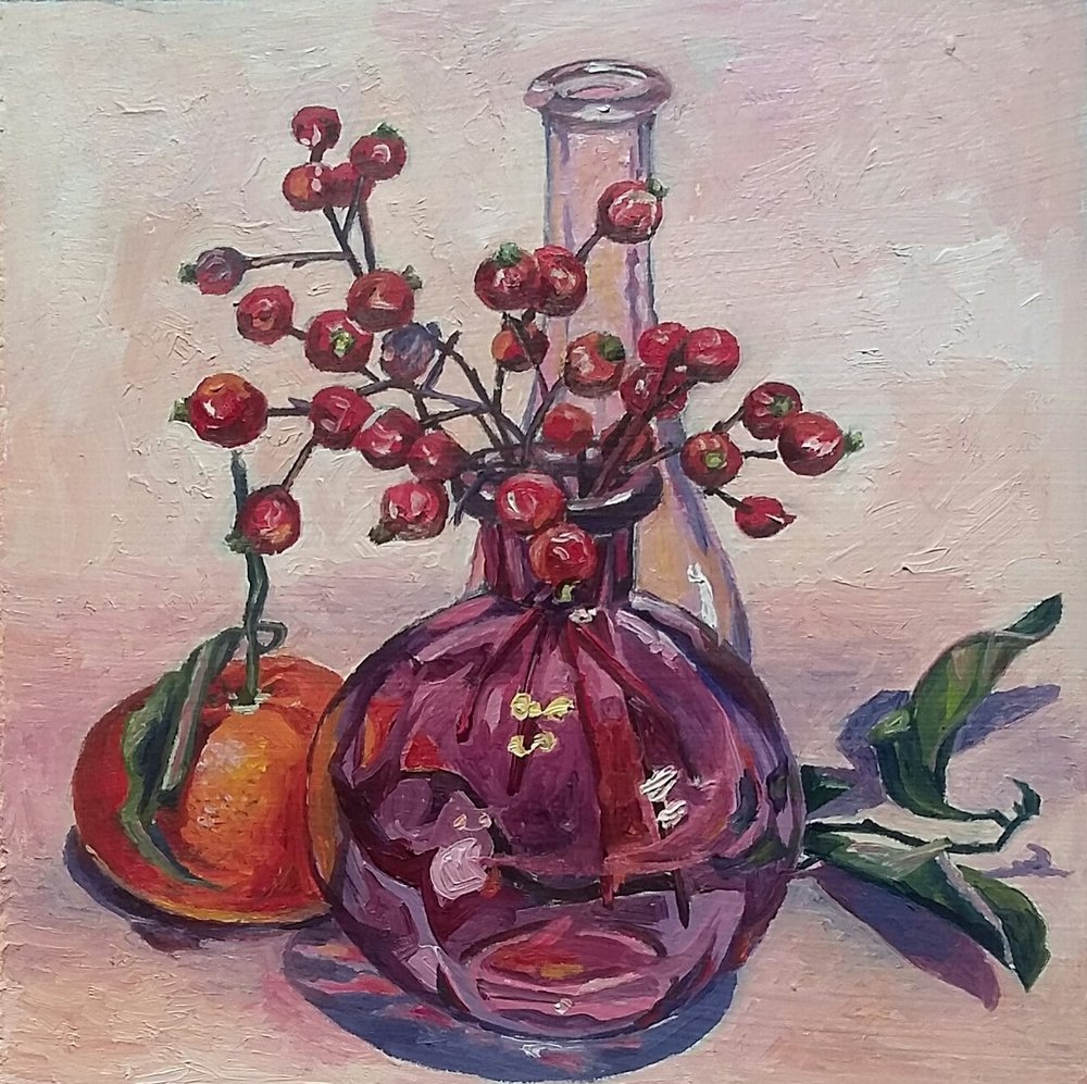 Still life with rosehip and mandarin, oil on board