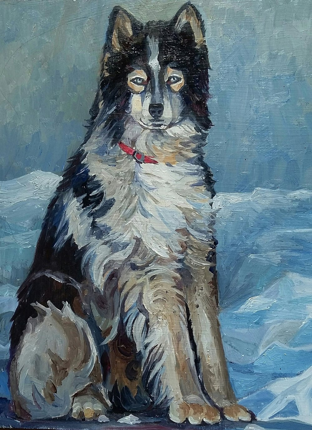 "portrait in blue and grey , oil on board 8"""" x 10"