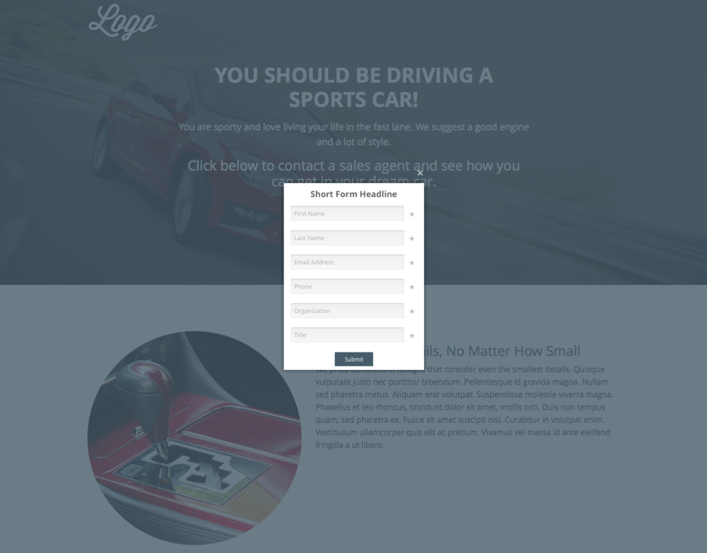he solution builder uses advanced logic to recommend a car based on answers to the lifestyle questions. Results pages are again supported with interest-building content and calls to action to turn engagement into conversion.