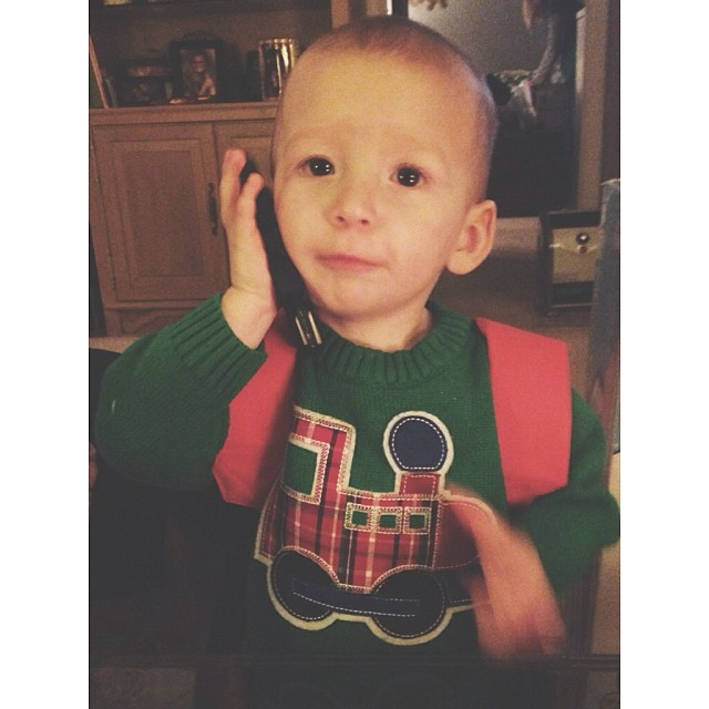 Micah loves to mimic us on the phone!