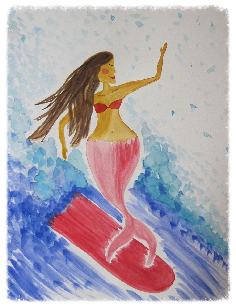 Surfing mermaid