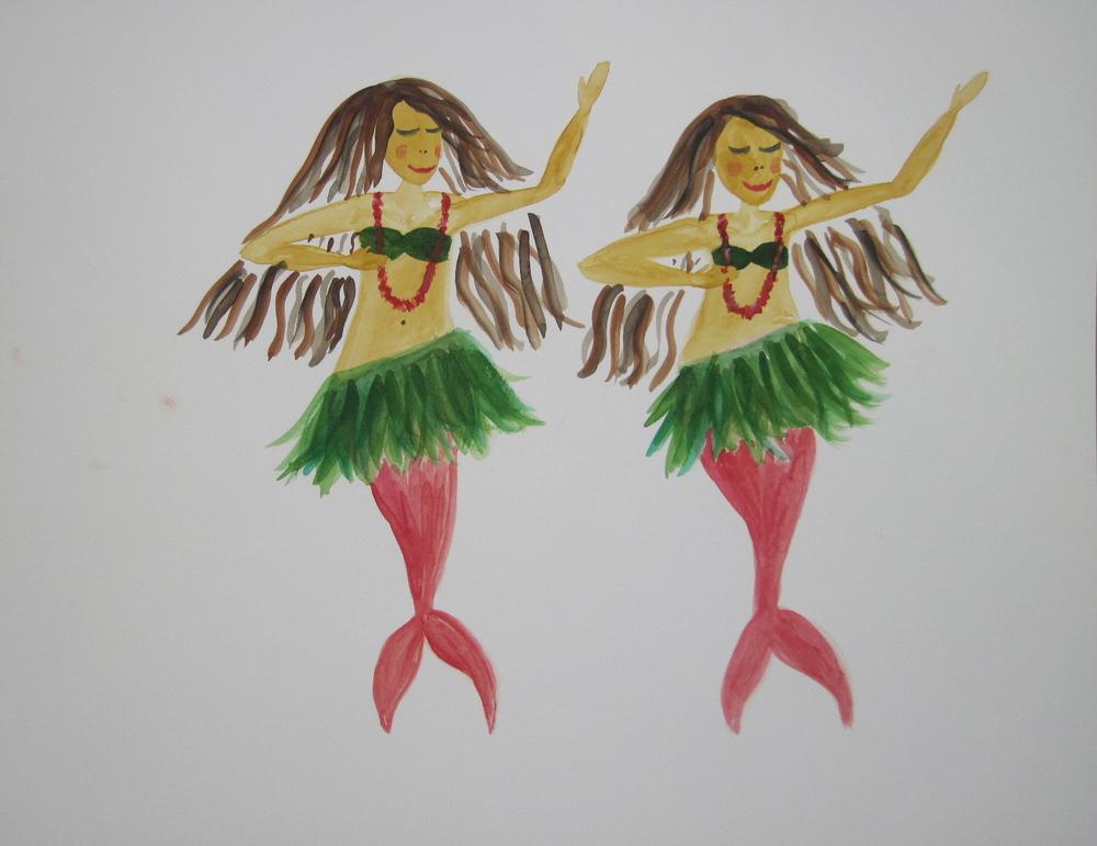 Hula Twin Mermaids