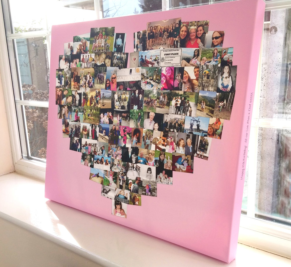 Heart shape photo collage on canvas with pink background