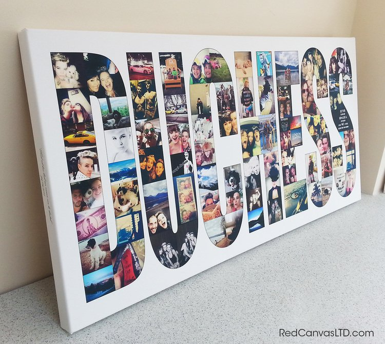 20x40 Inch Word Collage on Canvas with approximately 80 photos