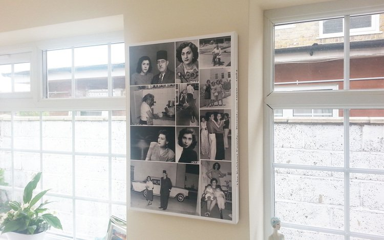 16224 Inch Photo collage on canvas, made from photos dating back to the 1950's, scanned and restored
