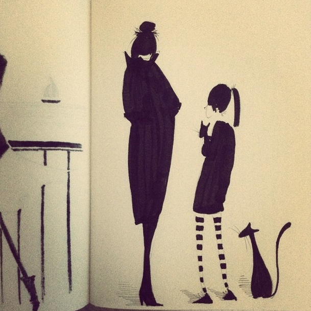 And back to cats.. here I was interested in bold silhouettes that told a story, in my head, it's a girl who wants to take home yet ANOTHER cat. The grown up isn't happy about it, or is she?
