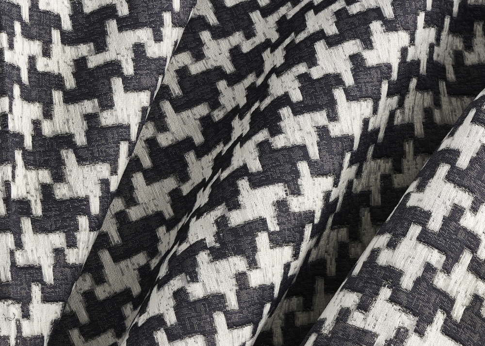 Remember Houndstooth, a pull-out design from Blanchard's Remember fabric, is enlarged 200 percent to create an all-over, large-scale, classic black-and-white houndstooth. It can stand alone or work in coordination with Remember. Additional colors are available with a minimum special order of 200 yards per color. Remember Houndstooth also comes standard with a Nano-Tex stain-resistant performance finish.