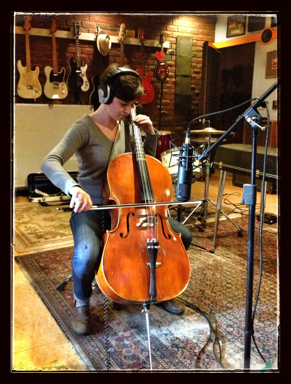 MorganEve Swain (of Brown Bird) laying down cello...
