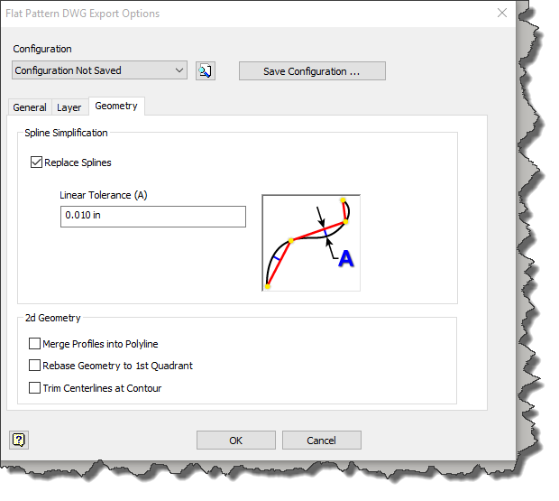 Pictured: The flat pattern export options from Autodesk Inventor related to dealing with splines. The graphic shows how line segments can be used to replace spline geometry.