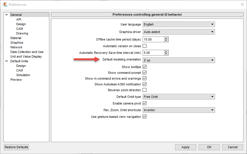 The Default modeling orientation can be changed in the Preferences under the General Heading