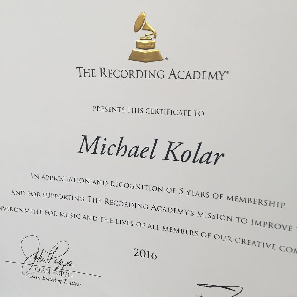 5 years a voting member of the Grammy's