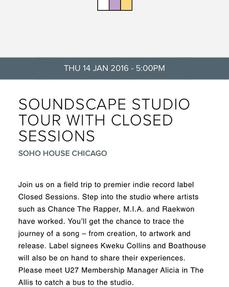 If you are a Soho member, please come join us for this interactive workshop & studio tour. (at SoundScape Studio)