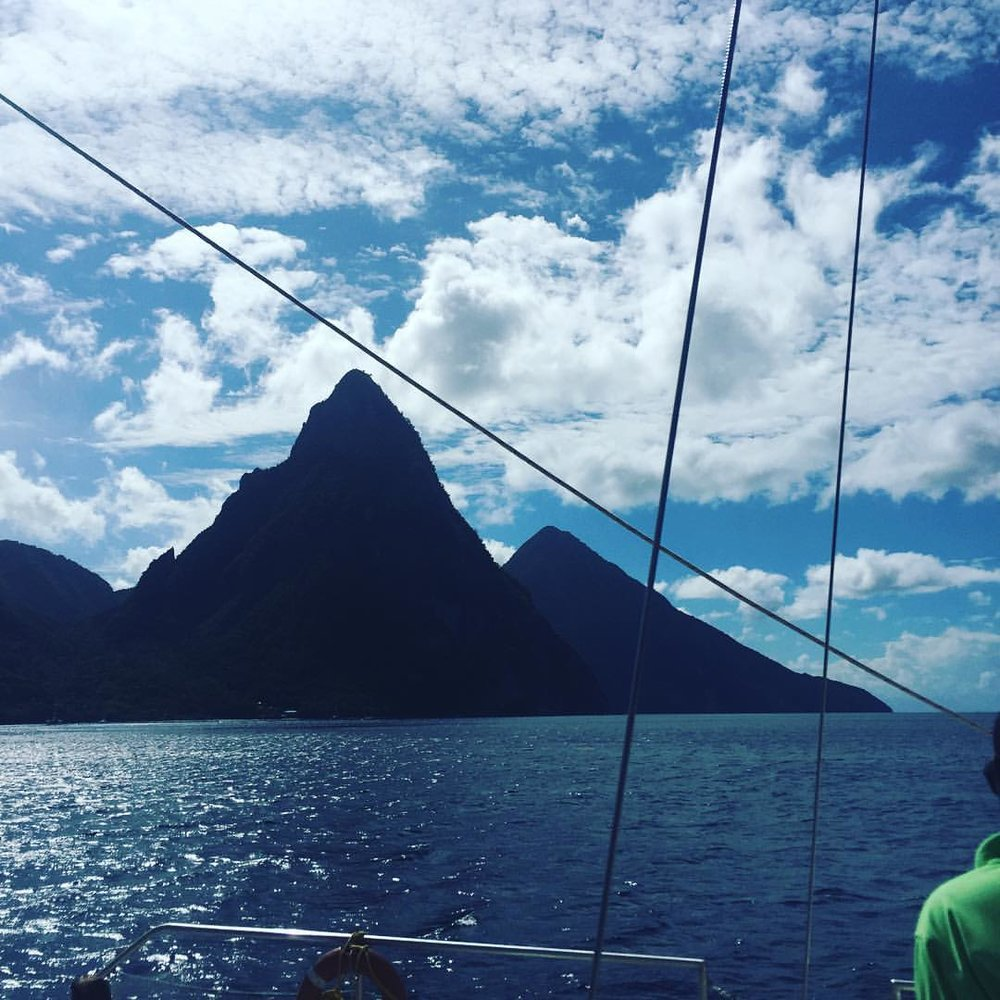 The twin pitons (at Marigot Bay, Castries, Saint Lucia)