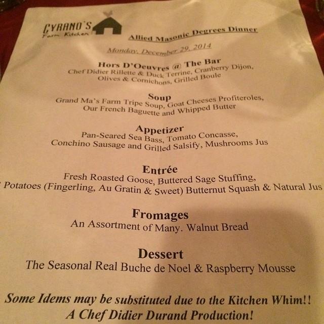 Last illuminati dinner of the year (at Cyrano's Farm Kitchen)