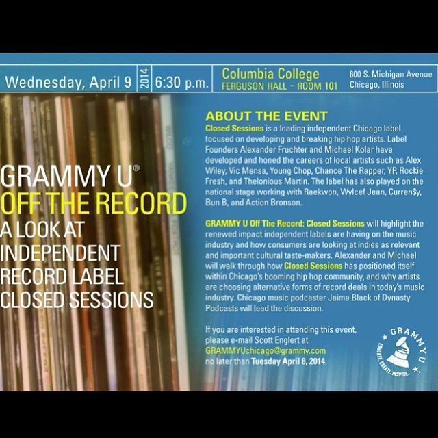 Looking forward to speaking at my collage @columalum this wendsay @grammyu