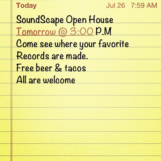 SoundScape Open House Tomorrow @ 3:00 pm