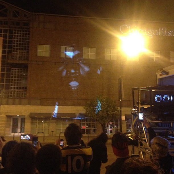 Kanye video screening on the side of Museum (at Chicago History Museum)