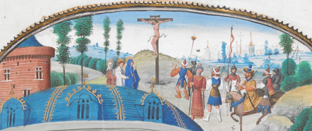 Scene from a mystery play by  Eustache Marcadé, c. 1465   British Library Add. MS 89066, f. 4r