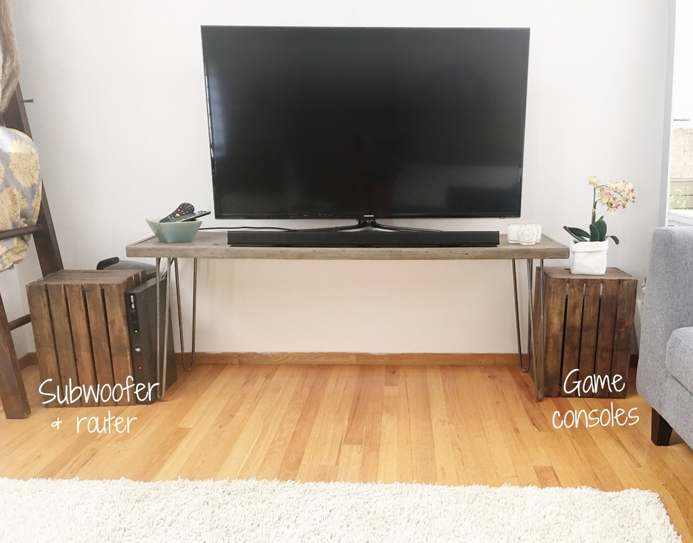 Our current setup. Next post will be about this TV stand you can make for <$100.