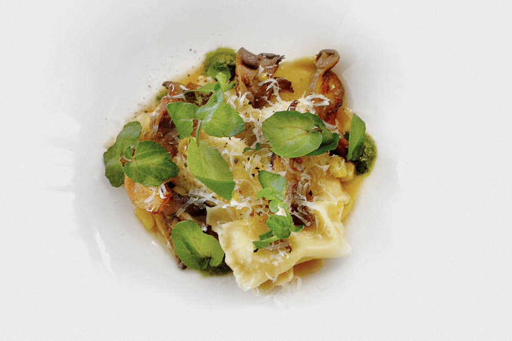 13 Corn agnolotti- oyster mushrooms-watercress- shaved pecorino by LA @ChefFullilove.jpg