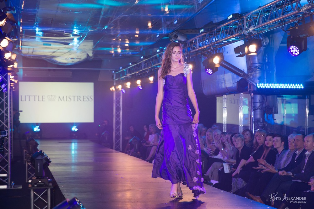 Phoebe's creation modelled on the catwalk by fellow Oldham Grammar student at the Runway on the Runway Fashion Show.