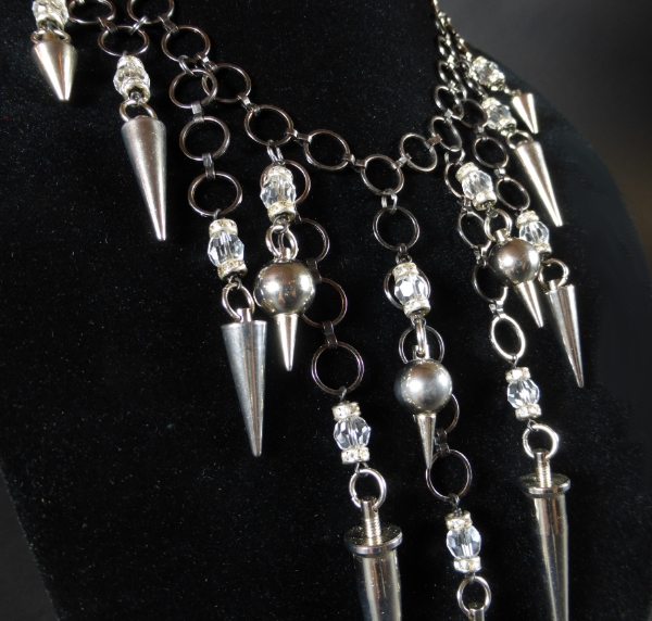 Rockera Gunmetal Spiked Bib Necklace | Betty Badd Couture