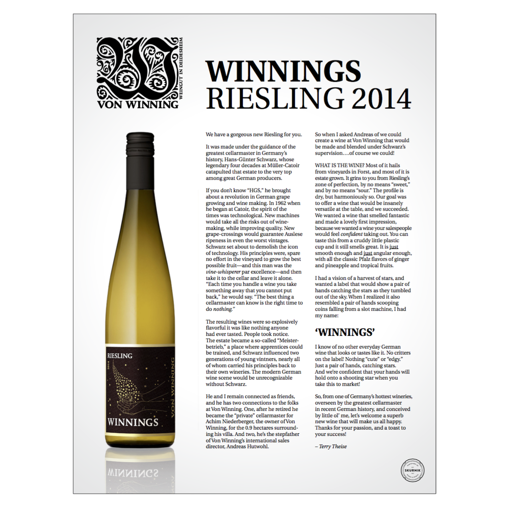 Label Design   Client: Von Winning Winery