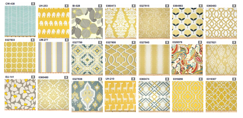 Couch upholstery swatches - mustard yellow with patterns