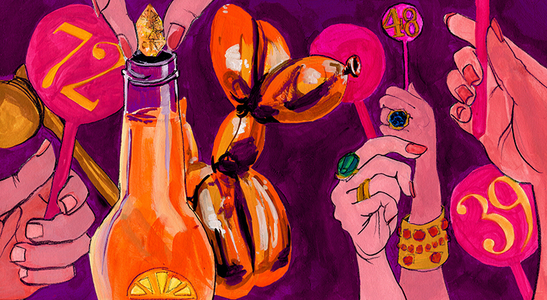 An editorial illustration for an article on Jeff Koons'  Balloon Dog (Orange)  auction