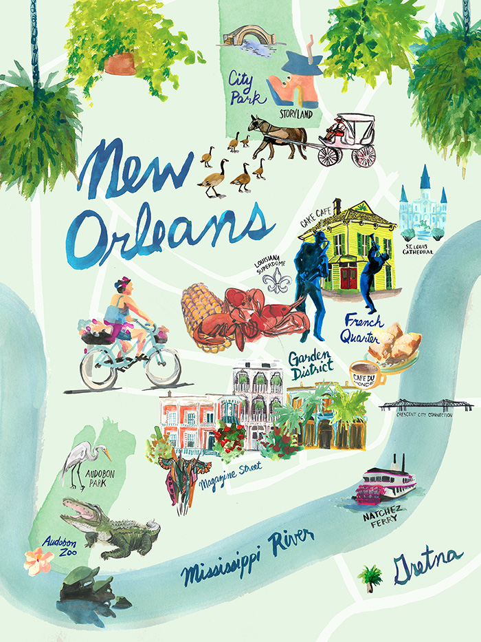 image regarding Printable Maps of New Orleans identify Clean Orleans Map Print Jessica Olah