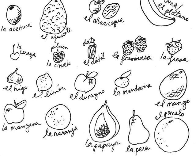 Escribando las fruitas en español 🍎🍉🍌🍒🍑🍋🥑🍇🍓 #dessiner #drawing #dibujos #notesofanillustrator #illustrator #drawingdaily #dailydrawing #foodillustration #sketchbook #learningspanish #learningspnishisfun #lenguasextranjeras #aprenderespañol #aprendiendoespañol #fruitdrawing #fruitoftheday #frutasfrescas #frutas