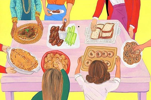 Did you know so many of your favorite foods were created by women?!? 4 more days til A Woman's Place comes out, did you preorder it yet?  #illustration #booksbooksbooks #bookillustrator #bookillustration #illustrator #illustratedbooks #picturebookillustration #foodillustrator #foodillustration #littlebrownbooks #awomansplace #womenwhocook #creativewomen #chocolatechipcookies #buffalowings #pbandj #doughnuts #macandcheese #potatochips #biryani #illustrationoftheday