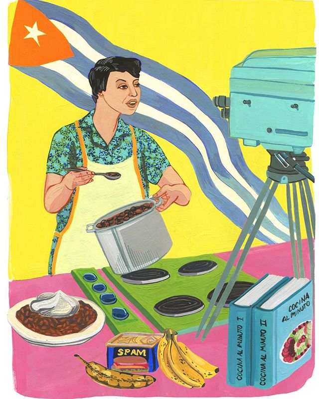 In honor of last week and my adventures in Cuba, I'm sharing one of my favorite ladies from #awomansplacebook Nitza Villapol was an inspiring tv show host who knew how to make a meal from the limited resources she had. To keep that mindset of doing much with what seems like a little is beautiful.  #bookillustrator #bookstagram #booksofinstagram #womenshistory #femaleillustrator #womenwhodraw #womendrawingwomen #illustratorsoninstagram #illustratedbook #portraitsofwomen #foodillustration
