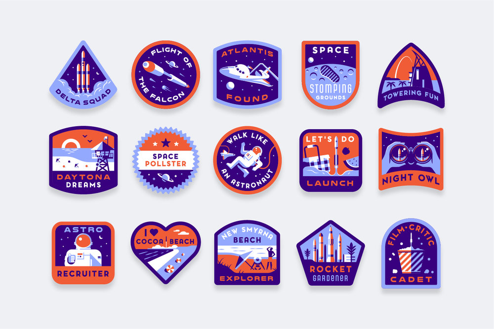 Illustration/badge design for Florida Space tourism. Creative direction by Lab Partners