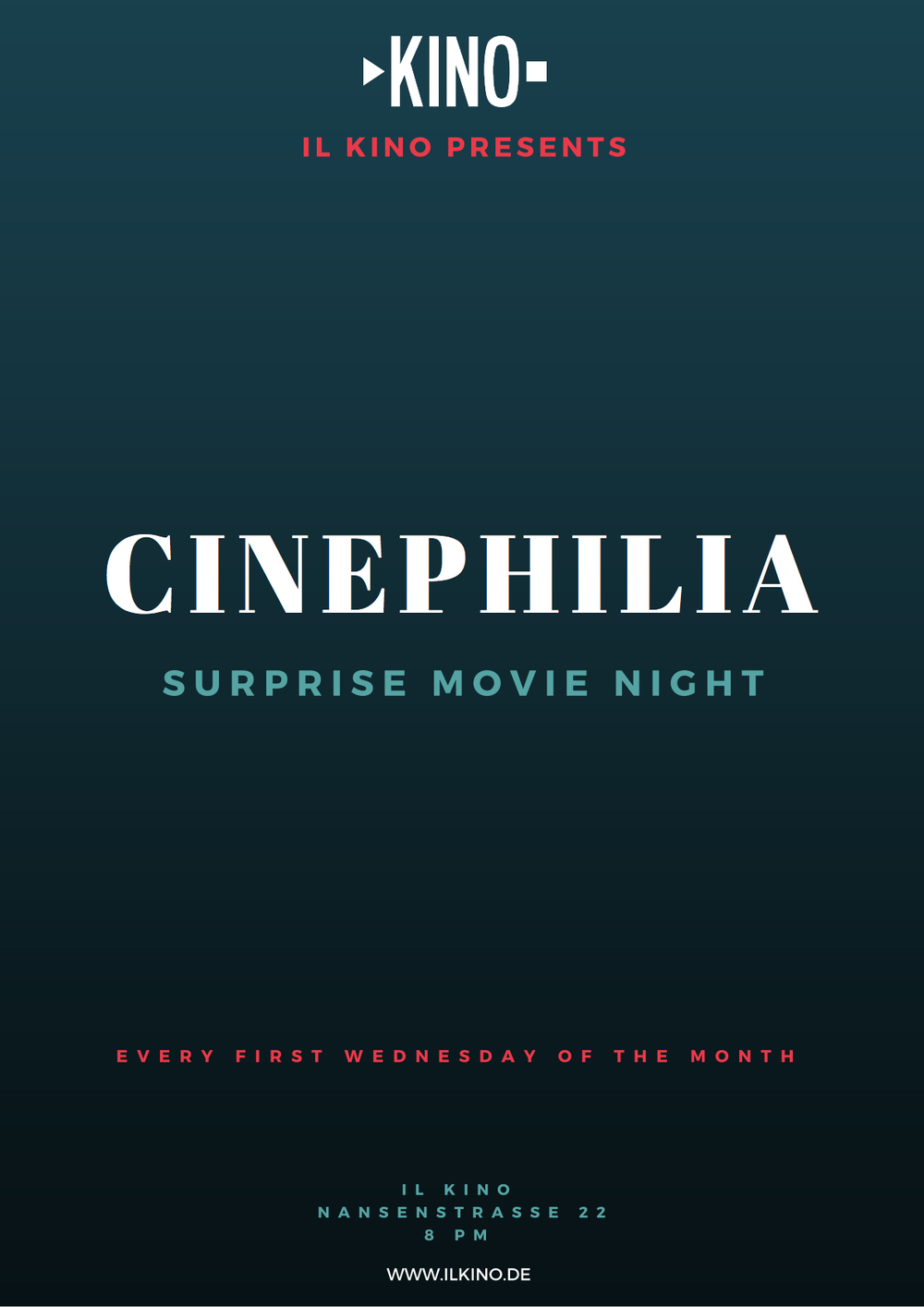 Monthly secret movie night for film lovers!