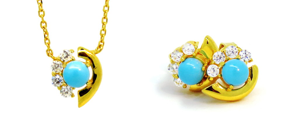 Cozumel Collection Necklace and Earrings in Gold Vermeil.