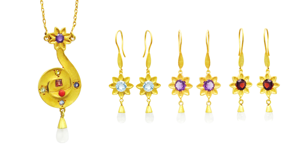 Chel Necklace and Earrings in Gold Vermeil.