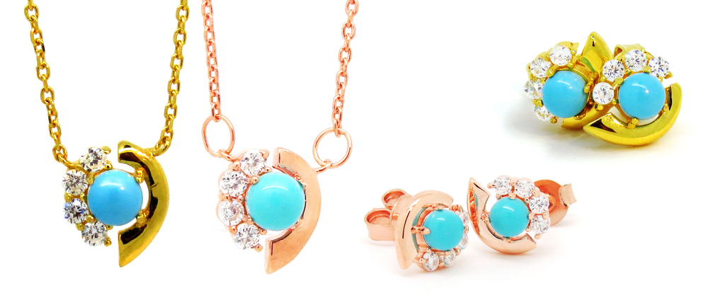 Cozumel Collection Necklace and Earrings in Gold and Rose Gold Vermeil.