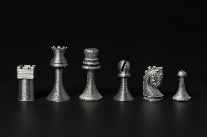 A 3D-printed replica of Marcel Duchamp's chess set produced using  Readymake: Duchamp Chess Set , a design created by Scott Kildall and Bryan Cera. Photo: Pete Prodoehl, via JS Online
