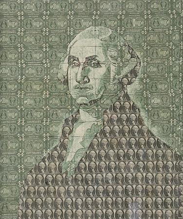 Ray Beldner. E Pluribus Unum (after Rembrandt Peale, George Washington, ca. 1854), 2005. Sewn US currency. Collection Fine Arts Museum of San Francisco.