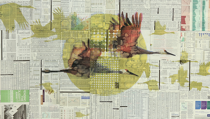 Phillip Hua. If It Happened Before, It Will Happen Again, 2014. Pigmented ink and packaging tape on The Wall Street Journal newspaper, mounted on dibond. 32 x 56 in.