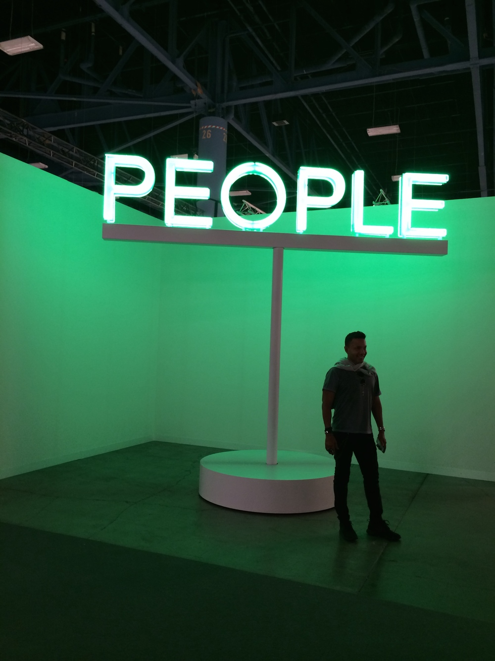 We might be going out on a limb to suggest this work by Martin Creed (Work No. 2070: People, 2014. Neon, metal, motor. 126 x 120 x 5 in) was the most Instagramed (is that a word?) piece at the fair. It was irresistible and got my finger on the video shot dot, available for your viewing pleasure here.