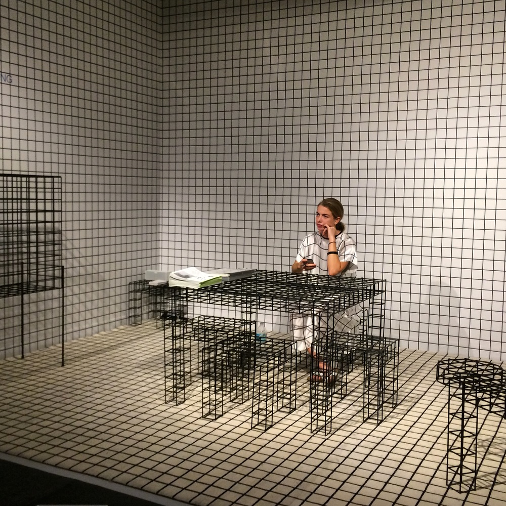Patrick Parrish's exhibition at Design Miami was a showcase of precise geometric detail,  including the young woman seated at the desk. There was no question which exhibitor she worked with when she walked about to stretch her legs!