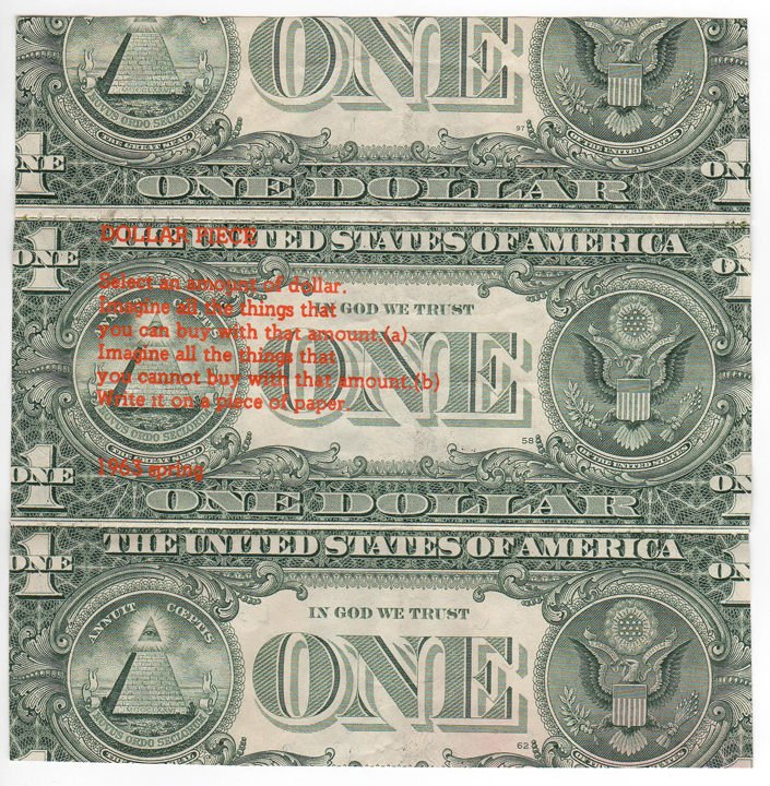 Ray Beldner. O, Yoko, 2002 (After Yoko Ono's Dollar Piece, 1963). Counterfeit Series. Sewn US currency, press type in varying colors. 5 x 5 in. each, edition variés of 35.