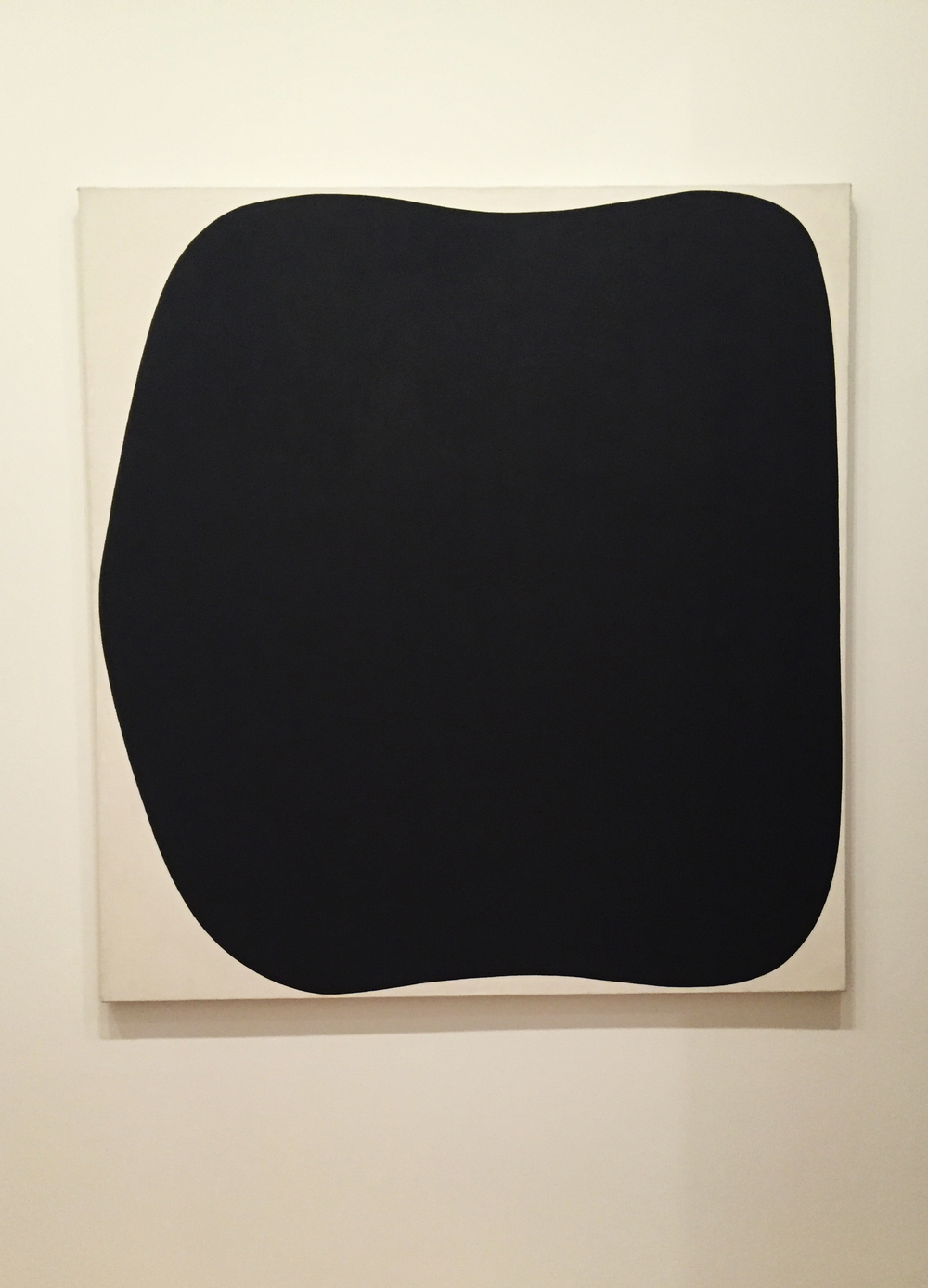 "Ellsworth Kelly (American, 1923) wanted us to see form and relationships when looking at his work. He named this work, ""Black Ripe"" (1955, oil on canvas), after visiting the studio of his buddy, Alexander Calder."