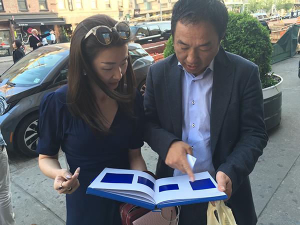 Edward Zeng with his art adviser Vanessa Guo, director at Hauser and Wirth. Image: artnet News.